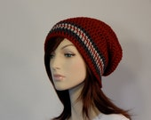 Ready to Ship, Red Gray Linen Slouch Hat, Deep Red, Charcoal Gray, and Oatmeal Striped Slouch Beanie, Womens Hat, Teen Slouchy Hat, Crimson