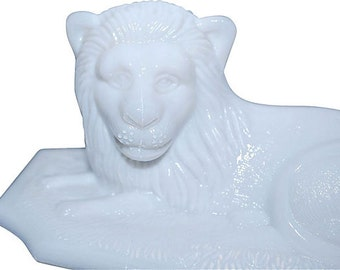Antique Westmoreland Lion on Perfect Picket Base, Milk Glass Covered Animal Dish Not a Repro