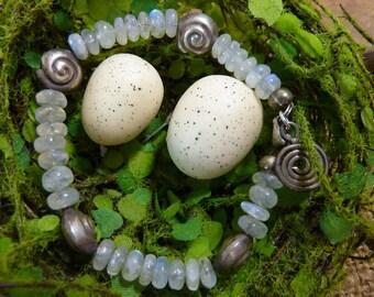 LABRADORITE AND HILL Tribe silver  sundance style boho sterling  stack  bracelet gemstone
