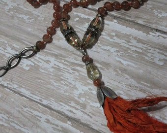 Natural Sunstone Tasseled, knotted Boho Chic LONG Necklace