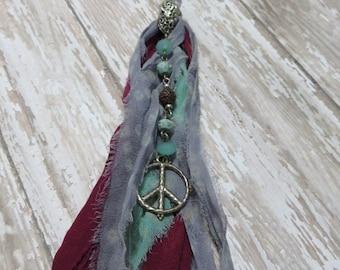 Reincarnated Long Tasseled Double Strand Rosary Style Necklace