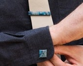Cufflinks and Tie Clip set - Computer Circuit Board Accessories -  antique silver, resin, square