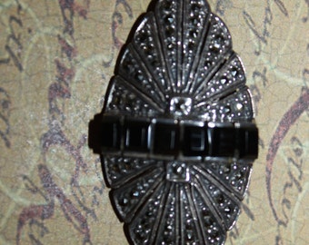 ArT DeCo Style Sterling & Marcasite with Black Onyx Brooch/Pin