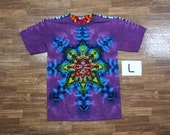 Tie Dye T-Shirt ~ Rainbow Mandala With Raspberry Purple Background ~ i1433 in Adult Large