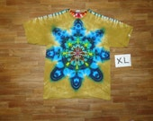 Tie Dye T-Shirt ~ Rainbow Mandala With Palomino Gold Background ~ 05532 in Adult Extra Large