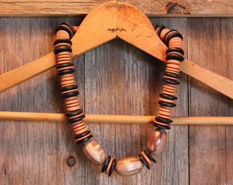 Natural Necklace Wood Stone Beads Hippie Beaded Costume Jewelry Womens Vintage 1970s 70s (J1)