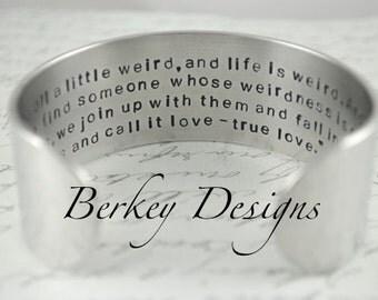 True Love Secret Message Hand Stamped Bracelet- Personalized Bracelet