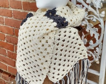 Ivory and Grey Crochet Scarf, Fringed Scarves, Grey Stripe Scarf for Winter, Crocheted Scarves with Fringe, Wide Scarves Crocheted