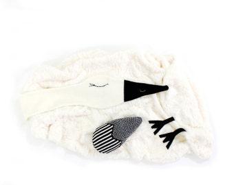 Stork Baby Blanket - soft baby blanket, newborn blanket, toddler blanket