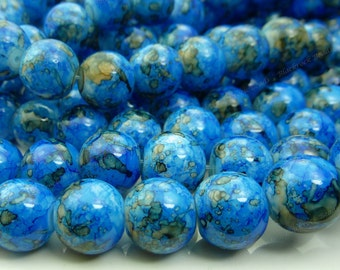 Bright Blue Round Glass Beads - 12mm Smooth Mottled Beads, Shiny Bohemian Beads - 17pcs - BN4