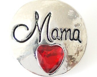 1 PC 18MM Red Heart Mama Rhinestone Silver Snap Candy Charm kb8227n CC1502