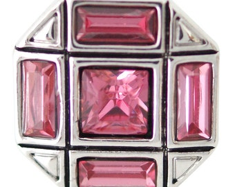 1 PC 18MM Pink Octagon Rhinestone Silver Candy Snap Charm ds5154 CC1669