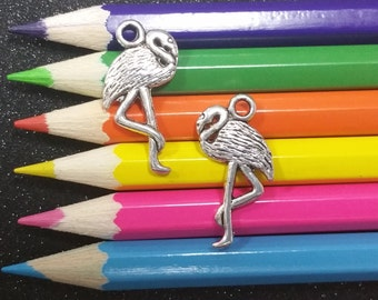 10 PC Flamingo Bird Animal Silver Charm C1287