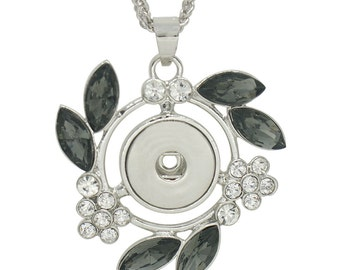"""1 Pendant Necklace Fits 18MM Candy Snap Charm 20"""" Silver White Gray Leaf Rhinestone kc0313 CJ0318"""