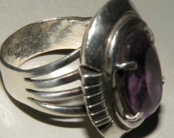Carl Quintana Sterling Silver and Large Amethyst Ring Size 7