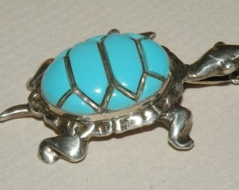 Sterling and Turquoise Enamel Turtle Charm Pendant