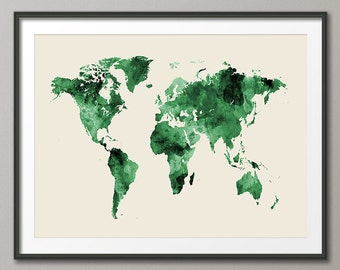 Watercolor Map of the World Map, Art Print (2397)