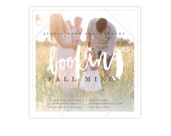 Booking ad -  Fall mini session design - Photoshop template - E1330