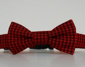 Buffalo Plaid Check Bow Tie Dog Collar Red Black Winter Made to Order