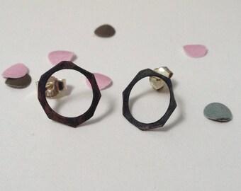 silver earstuds - oxidised silver - geometric shape