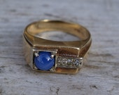 Men's Star Sapphire and Diamond Ring 14 kt Signed 1930s Size 8.5