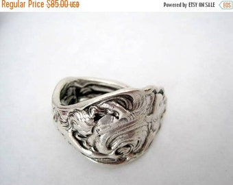 Sterling Spoon Ring - Sterling Silver-  Unger Bros - The Wave - Size 8 Copyright 1904