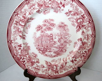 3 Red Tonquin Salad Plates - Royal Staffordshire -  Set of 3 - 8 Inch Plates - Clarice Cliff Transferware - England