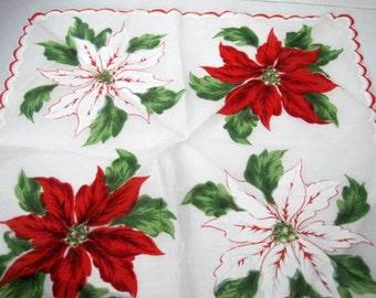 Christmas Poinsettia Hankie Scalloped Edge Handkerchief