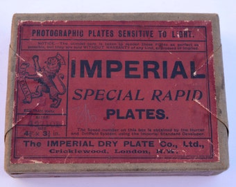 Imperial Special Rapid Plates Still Sealed in Box Imperial Dry Plate Co Cricklewood London Vintage Photography