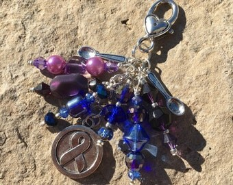 Blue and Purple Ribbon, Rheumatoid Arthritis Purse Charm, Rheumatoid Arthritis Key Chain, Purse Bling, Handbag Decoration, Awareness Ribbon