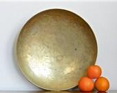 Vintage Brass Bowl Rustic Hand Etched Asian Brass Decorative Bowl Cosmopolitan Boho Chic Decor