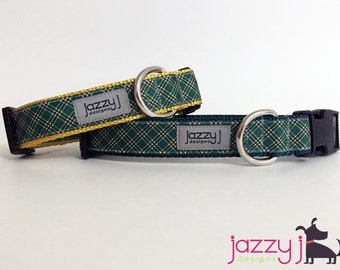 Green Plaid Dog Collar