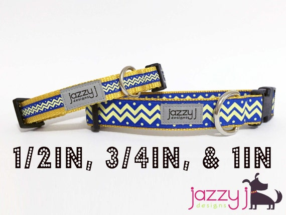 Blue And Yellow Gold Chevron Dog Collar San Diego Chargers