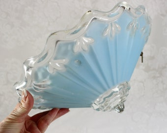 Antique Art Deco Ceiling Shade- Pale, Light Blue frosted- Cone Shape with Ribs, scallops- Heavy Glass- RARE-