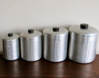 Vintage Metal Kitchen Canisters - Stackable - Made in Italy