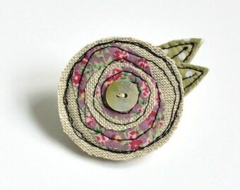Pink Flower BROOCH, Flower pin, Flower badge, Fabric flower brooch,Pink Fabric flower, Embroidered flower, Textile flower brooch, flower pin