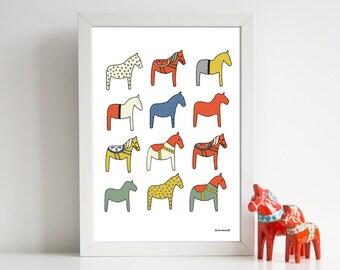 Swedish Dala Horses - A4 Hand Drawn Illustration Print  - Scandi - Scandinavian - Nordic - Scandinavian - Home Decor - Scandinavian art