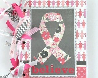 40% OFF Breast Cancer Scrapbook Journal Mini Album Kit or Premade