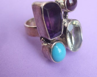 Sterling Artisan Semi Precious Stone Ring Size 7.5