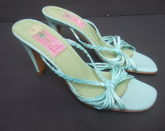 LILLY PULITZER Turquoise Blue Leather Sandals Made in Italy  US Size 8.5 B