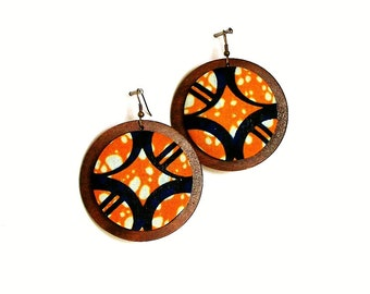 Button Fab - African Wax Print Fabric Button and Wood Earrings