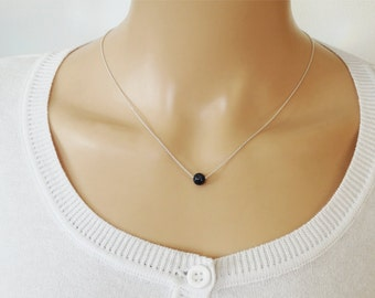 Floating Sapphire Necklace - Sterling Silver