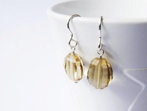 Citrine & Silver Earrings - Sterling Silver