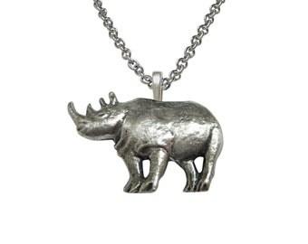 Textured Rhino Pendant Necklace
