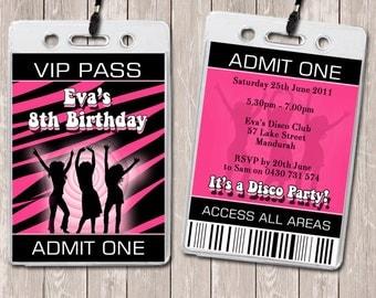 Disco Dance Personalised VIP Lanyard Invitations x 10