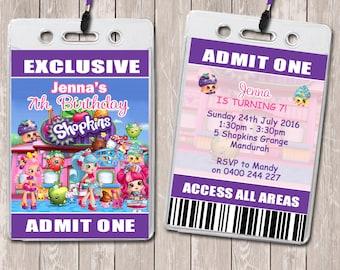 Shopkins Personalised VIP Lanyard Birthday Invitations x 10