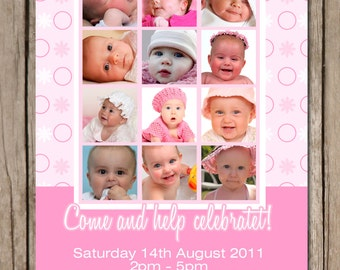 First Birthday Photo Collage Personalised Birthday Invitations - YOU PRINT