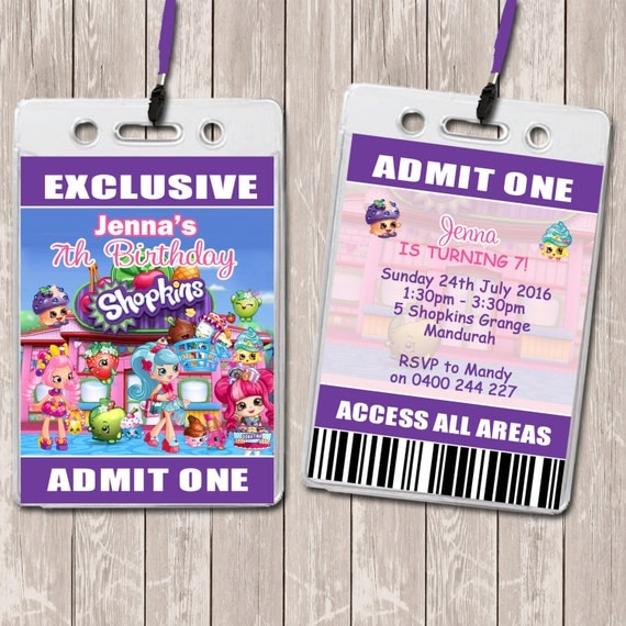 Shopkins Personalised VIP Lanyard Birthday Invitations x 10 by