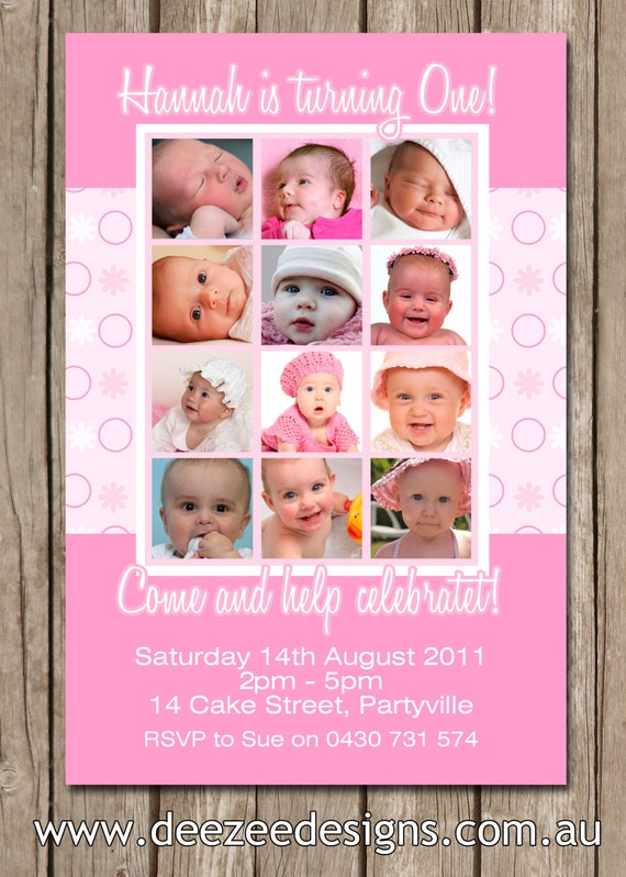 First birthday photo collage personalised birthday invitations you il570xn filmwisefo