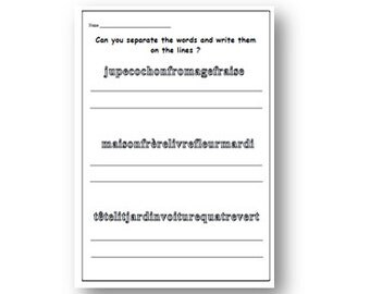 FRENCH language Activity Worksheet to Learn to Recoginise Basic Words,Printable Writing Excercise,Language & Writing Skills,Lesson Plan